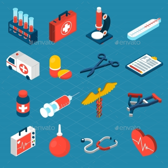 Medical Isometric Icons - Health/Medicine Conceptual