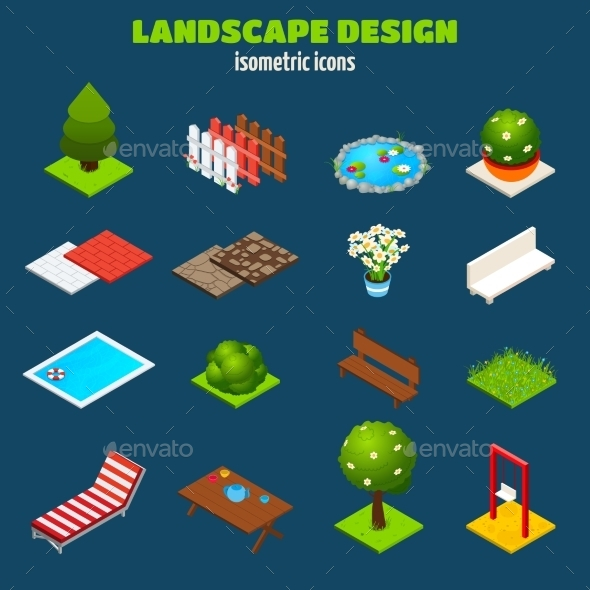 Landscape Design Isometric Icons - Objects Vectors