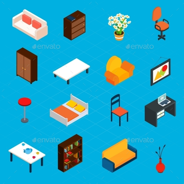 Isometric Interior Icons - Objects Vectors