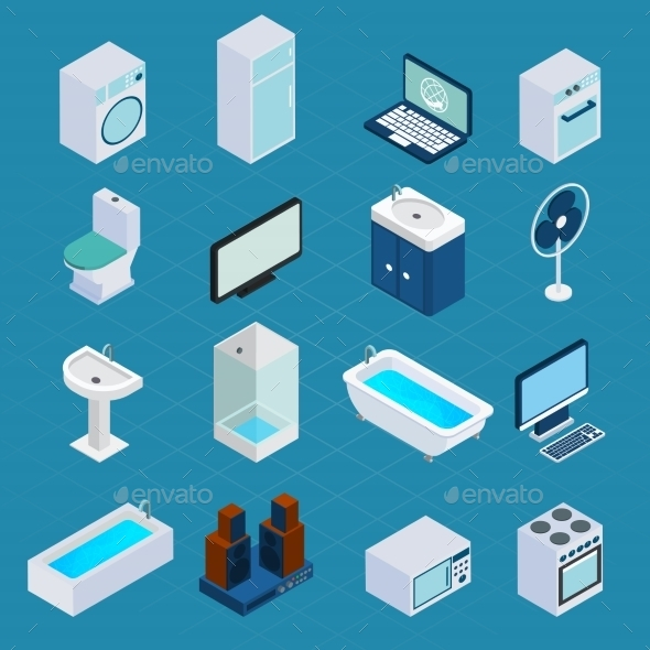 Isometric Household Appliances - Objects Vectors