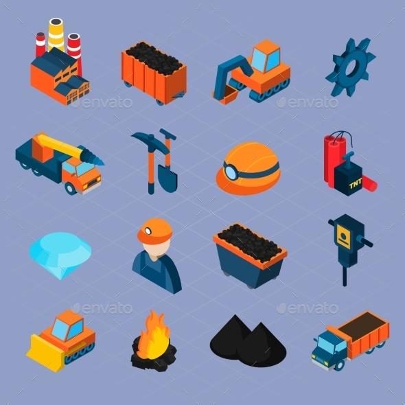 Coal Industry Isometric Set - Miscellaneous Vectors