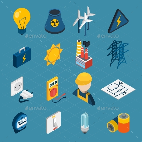 Electricity Isometric Icons - Decorative Vectors