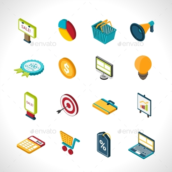 Marketing Icons Isometric - Business Conceptual