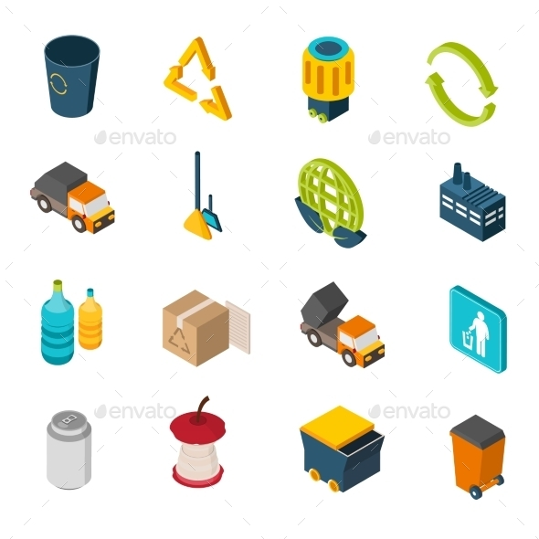 Garbage Isometric Icons - Miscellaneous Vectors