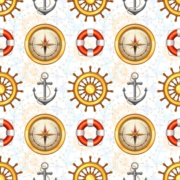 Marine Seamless Pattern - Travel Conceptual