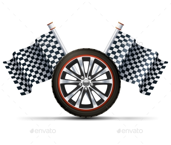 Racing Wheel With Flags - Objects Vectors