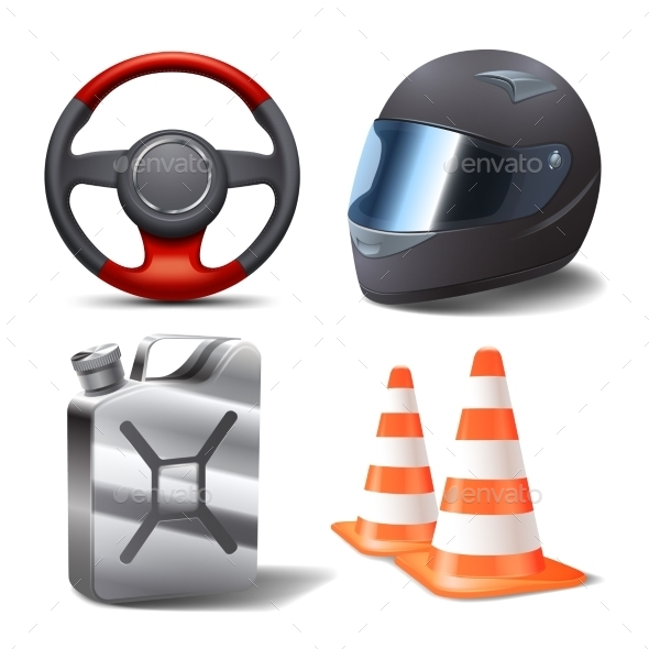 Car Racing Set - Objects Vectors