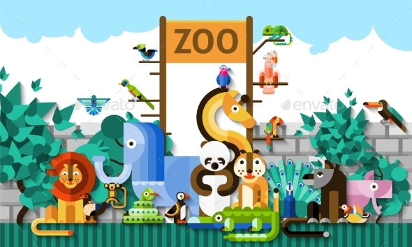 Zoo Background Illustration - Animals Characters