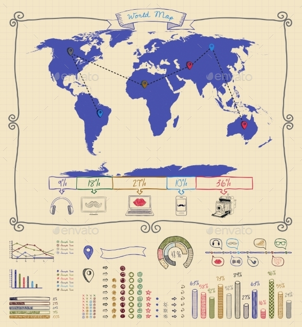 Pen Drawing Warld Map. Infographics - Infographics