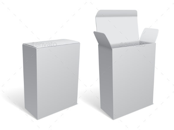 Blank White Package Box - Retail Commercial / Shopping