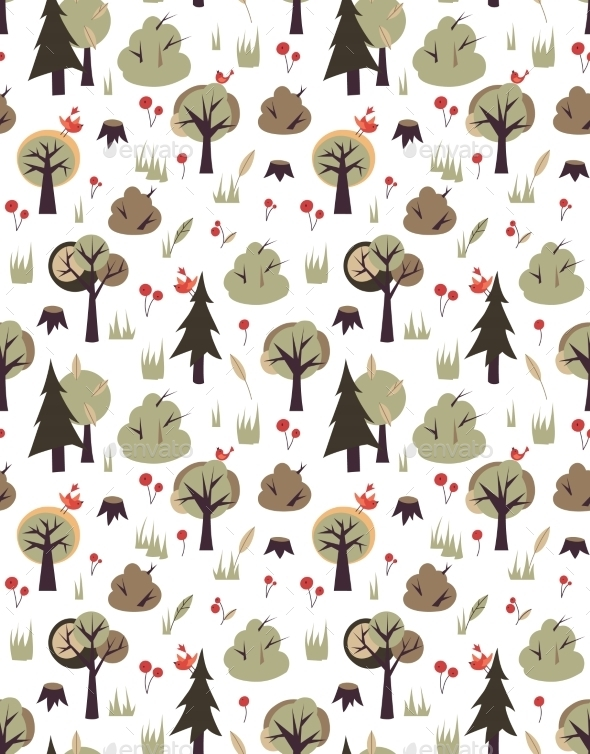 Birds and Trees Pattern - Seasons Nature