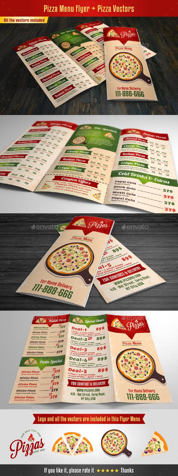 Pizza Menu Flyer - Food Menus Print Templates