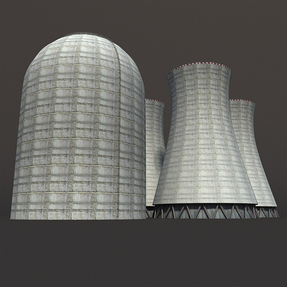 Nuclear Chimney Low Poly 3d Model - 3DOcean Item for Sale