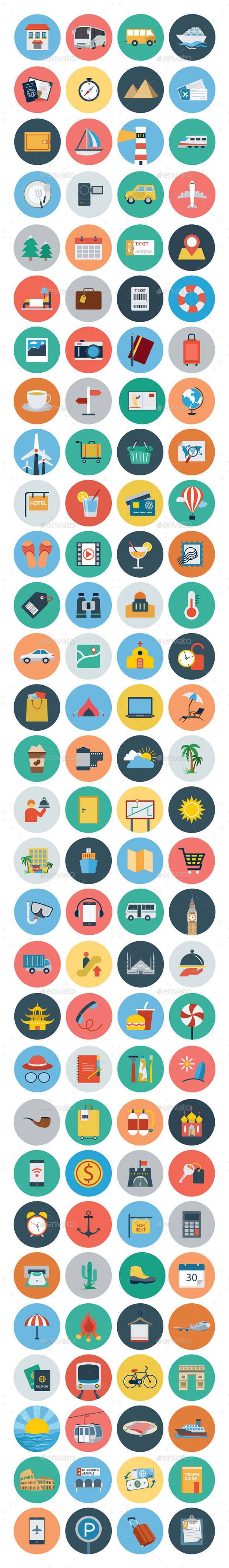 120 Travel Flat Icons - Icons