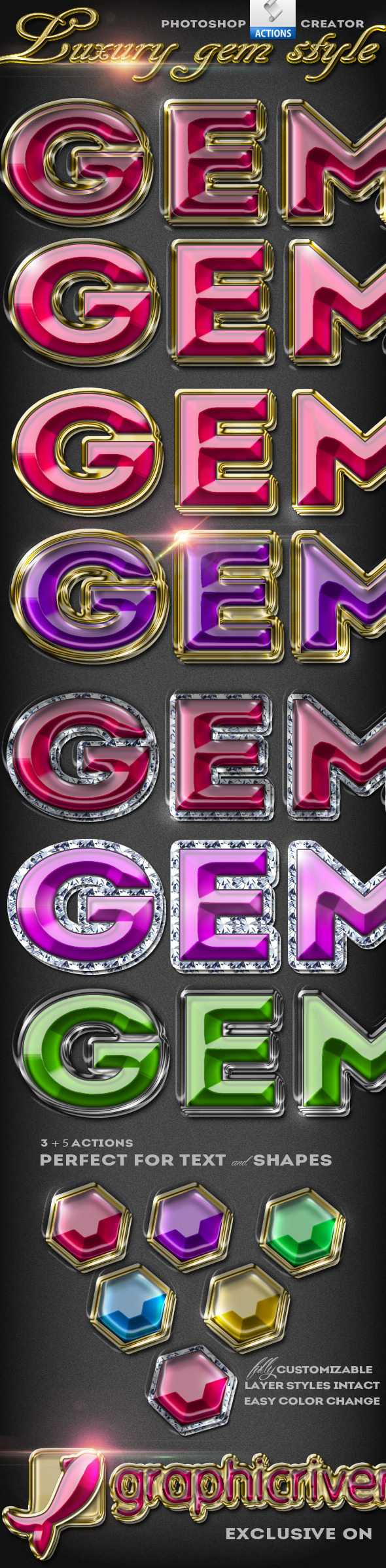 Gem Style Jewelry Photoshop Creator - Text Effects Actions