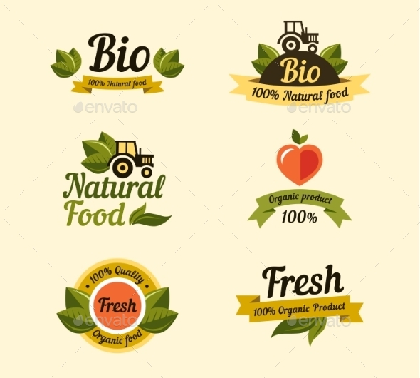 Bio Labels and Symbols  - Food Objects