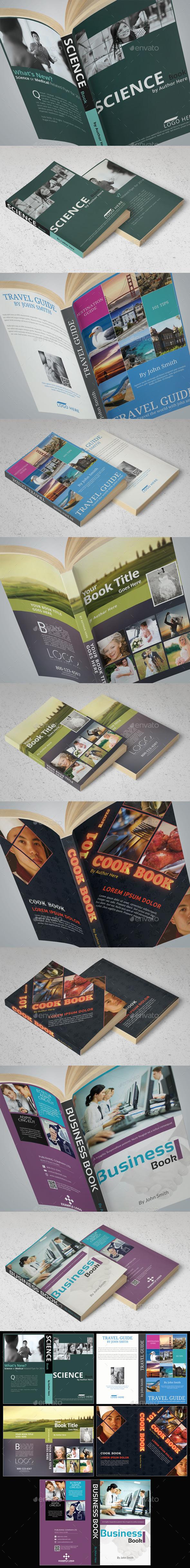 5x Book Cover Templates Bundle - Miscellaneous Print Templates