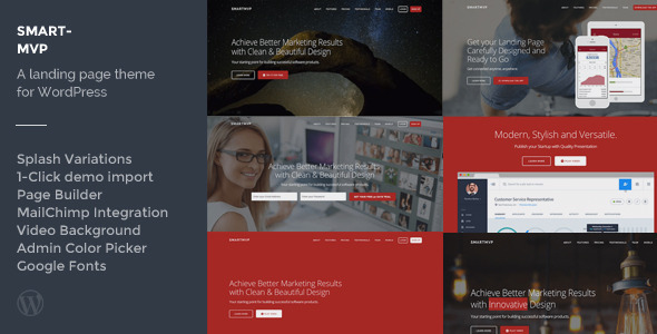 SmartMvp - Startup Landing Page WordPress Theme - Corporate WordPress