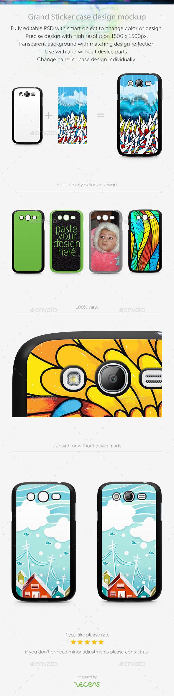 Grand Sticker Case Design Mockup - Mobile Displays