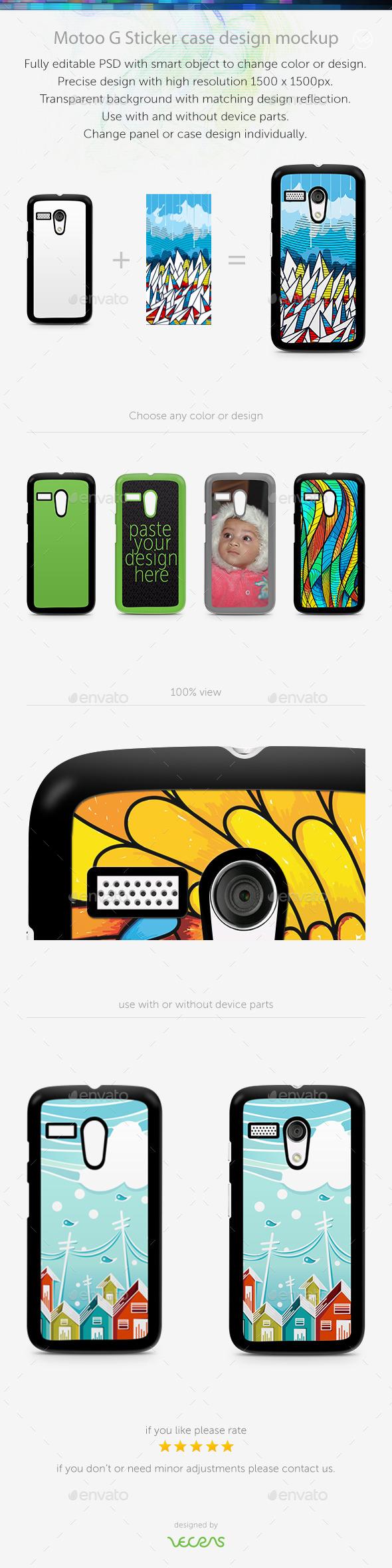 Motoo G Sticker Case Design Mockup - Mobile Displays