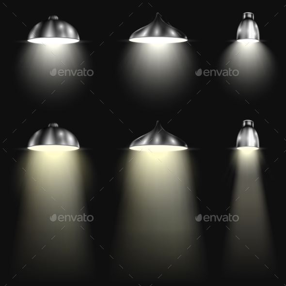Three Types of Spotlights With Beams - Technology Conceptual