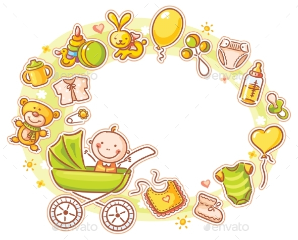Oval Frame with Cartoon Baby - People Characters