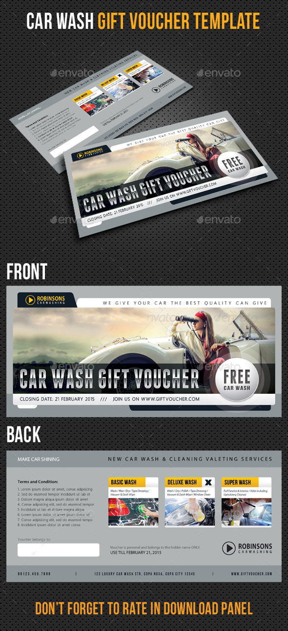 Car Wash Gift Voucher Template V03 - Cards & Invites Print Templates