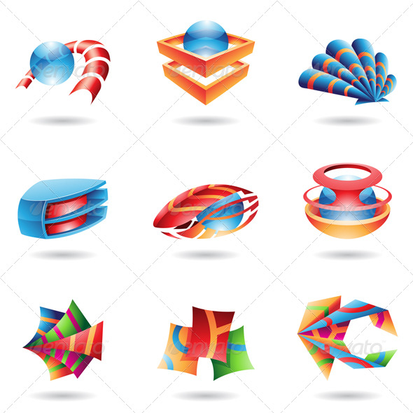 3D Colourful Abstract Icons - Abstract Icons