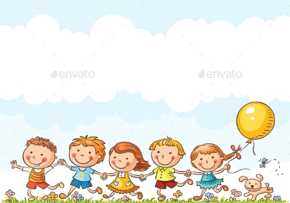Happy Kids Running Outdoors - People Characters