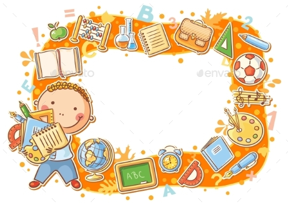 Cartoon Frame with School Objects - Backgrounds Decorative