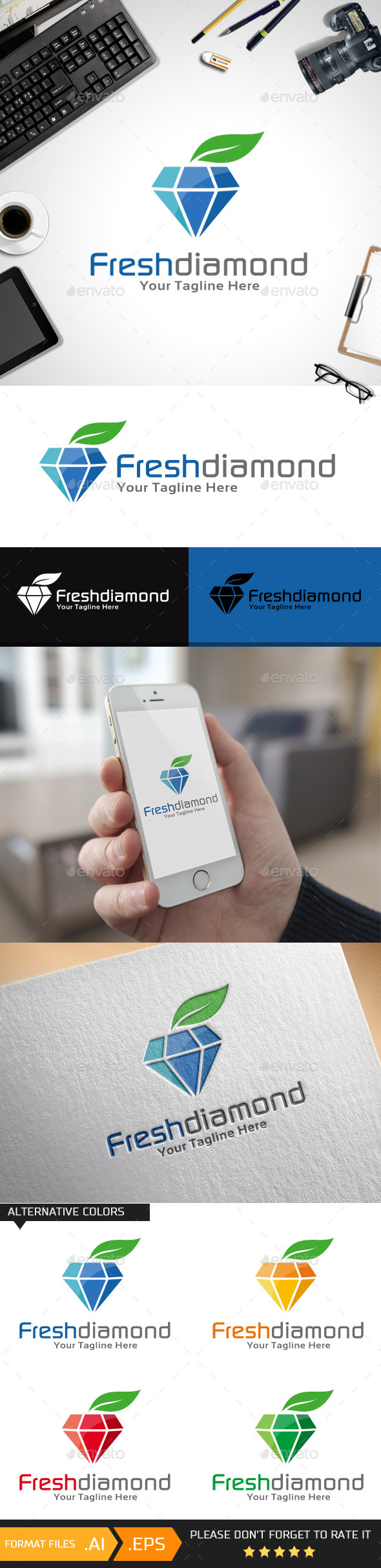 Fresh Diamond Logo Template - Objects Logo Templates