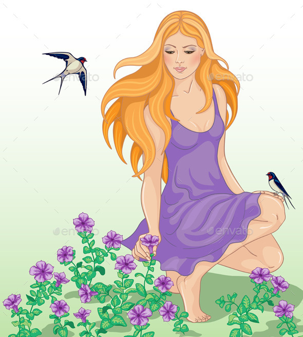 Girl, Flowers and Swallows - People Characters