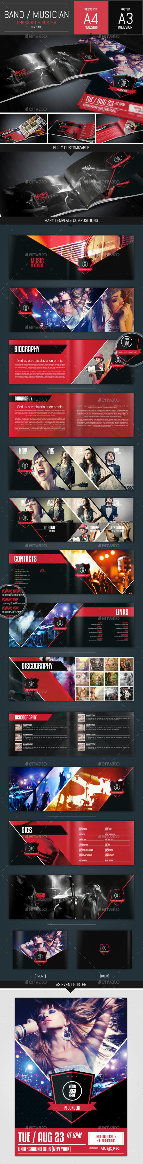 Music Band Pack: Presskit + Poster Template - Resumes Stationery