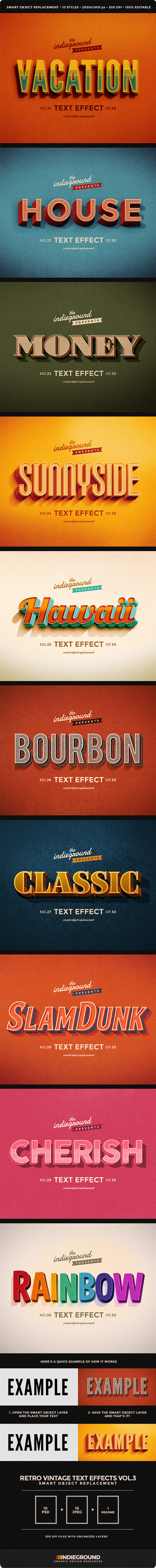 Retro Vintage Text Effects Vol. 3