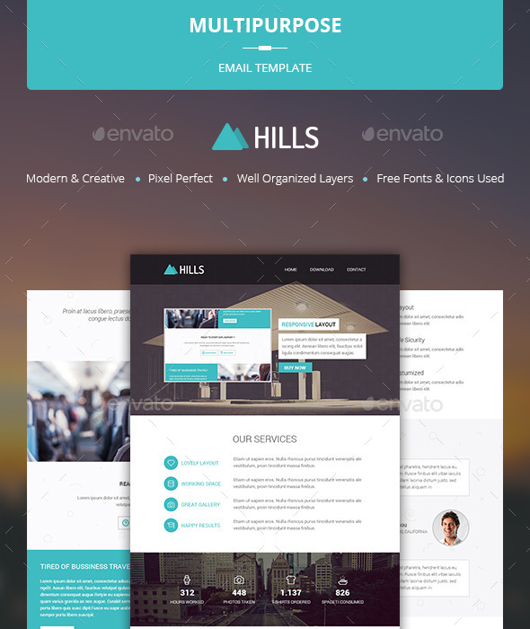 Multipurpose Email Template - Hills - E-newsletters Web Elements