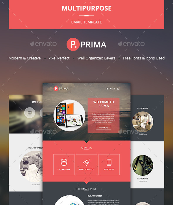 Prima - Multipurpose Email Template - E-newsletters Web Elements