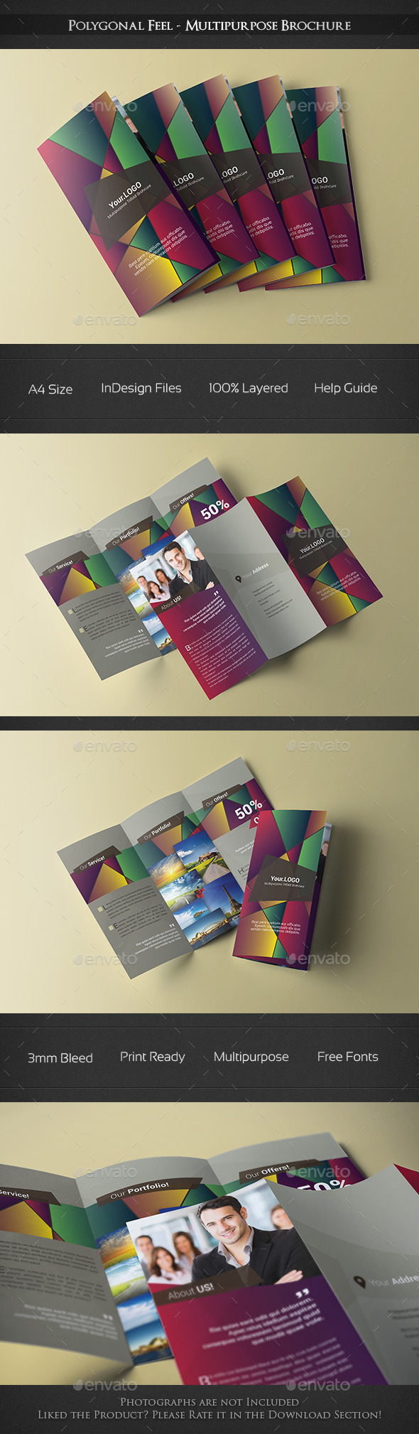 Polygonal Feel - Trifold Brochure - Corporate Brochures
