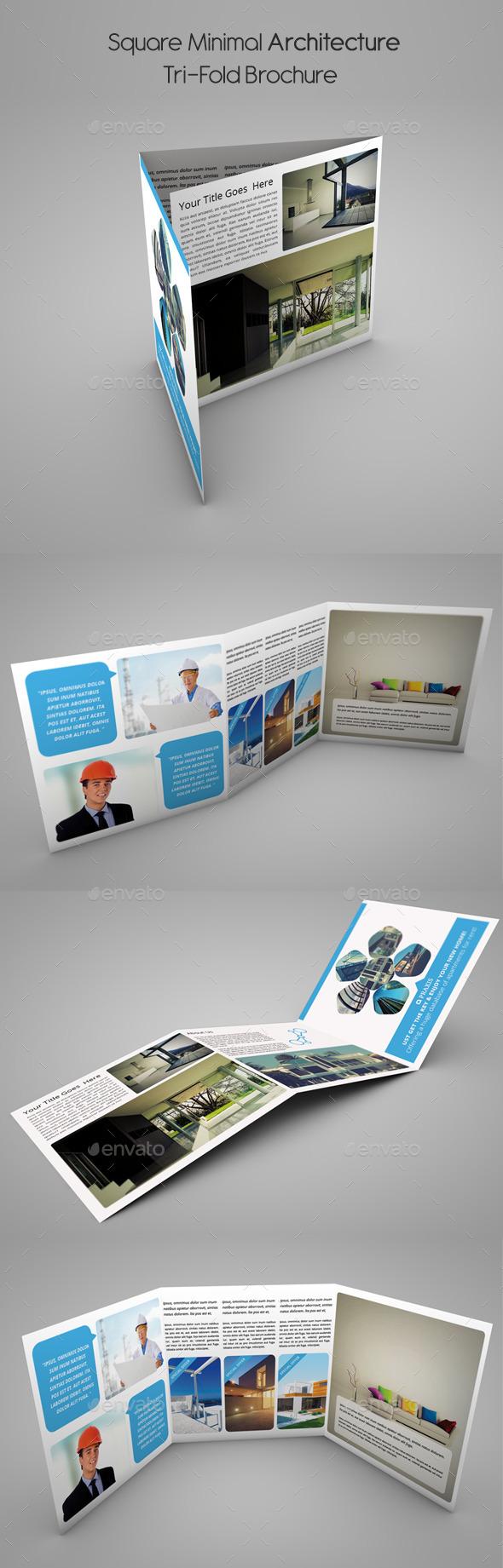 Square Minimal Architecture Tri-Fold Brochure  - Brochures Print Templates
