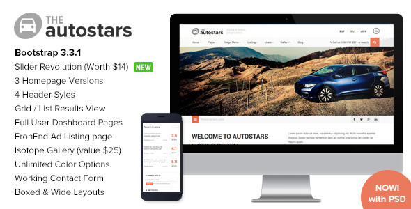 AutoStars – Responsive Car Dealership Template