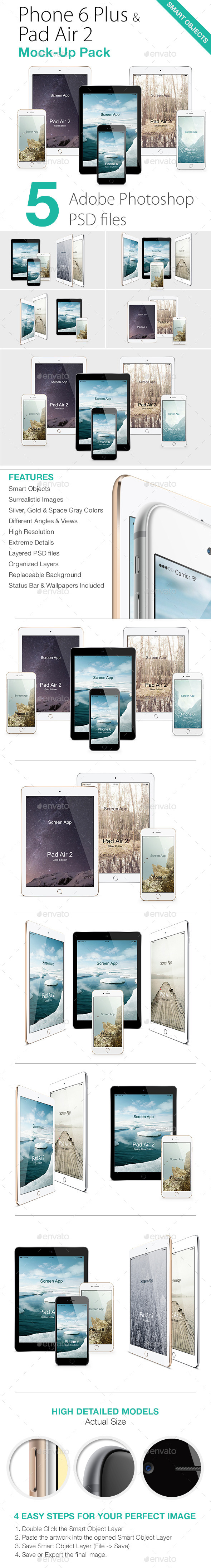 iPhone 6 & iPad Air 2 Mock-Ups Pack - Product Mock-Ups Graphics