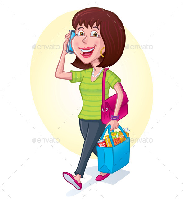 Woman Carrying Shopping Bag - People Characters
