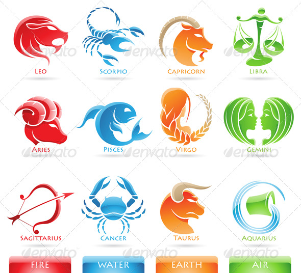 Zodiac Star Signs - Abstract Icons
