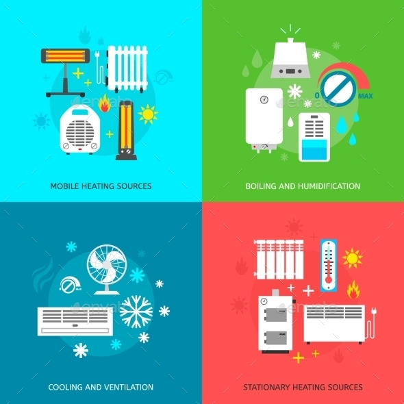 Heating and Cooling Icons Set - Man-made Objects Objects