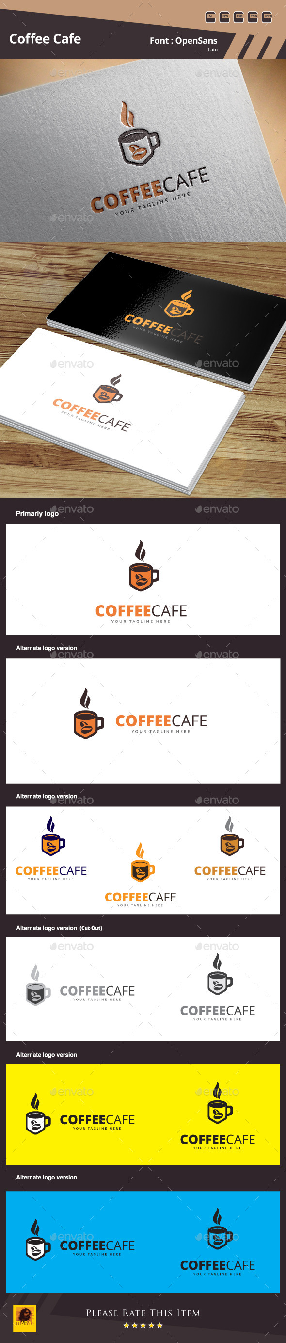 Coffee Cafe Logo Template - Food Logo Templates