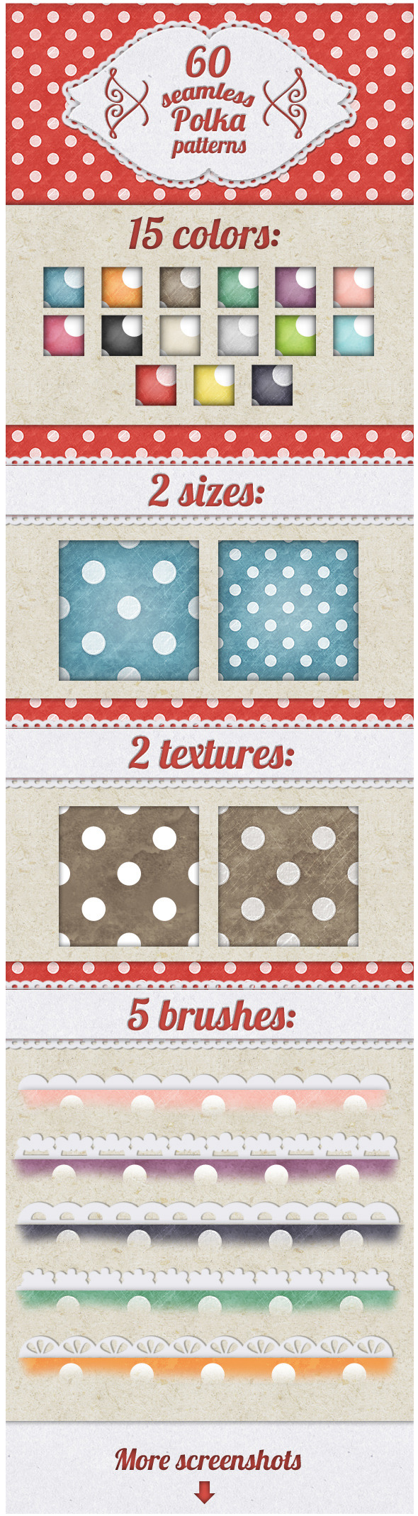 Vintage Polka Dots Patterns for Photoshop - Abstract Textures / Fills / Patterns