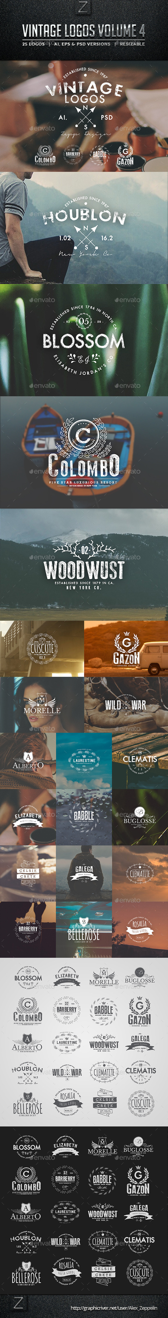 Vintage Logos and Badges Set 4 - Badges & Stickers Web Elements