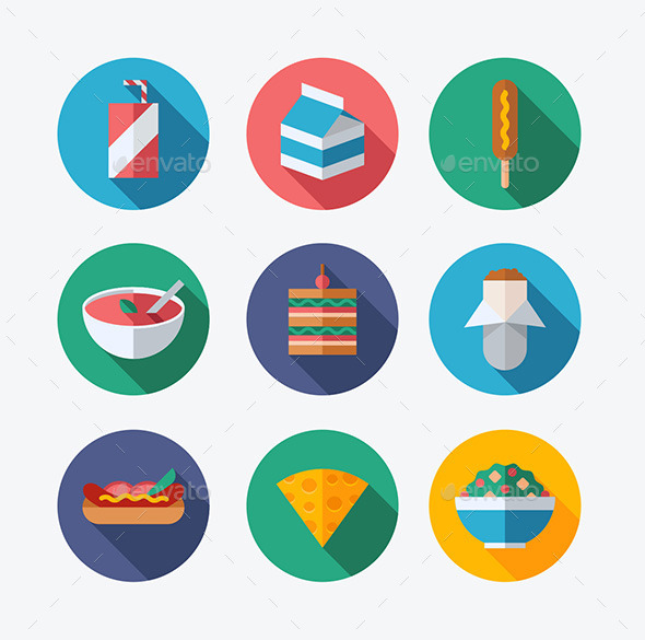 Lunch Flat Icons - Food Objects