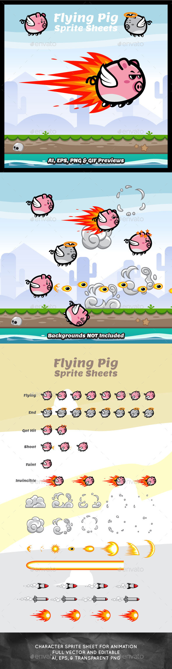 Game Character Flying Pig Sprite Sheets - Sprites Game Assets