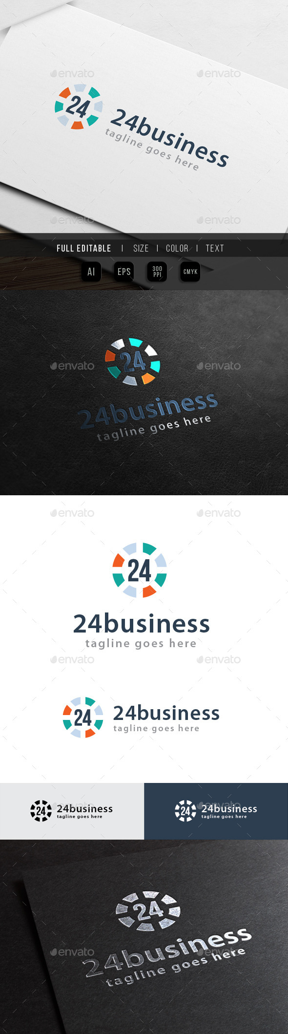 24 business - Twenty Four Hour - Numbers Logo Templates