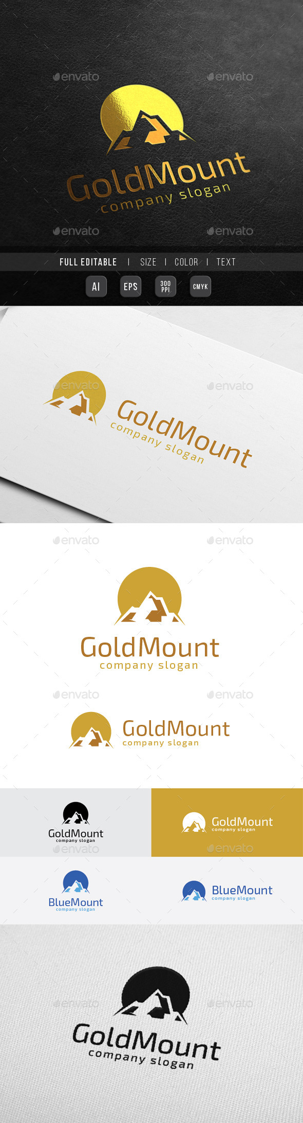 Golden Mountain - Finance Marketing - Nature Logo Templates